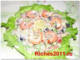 Салат с авокадо и креветками — праздник в пост.